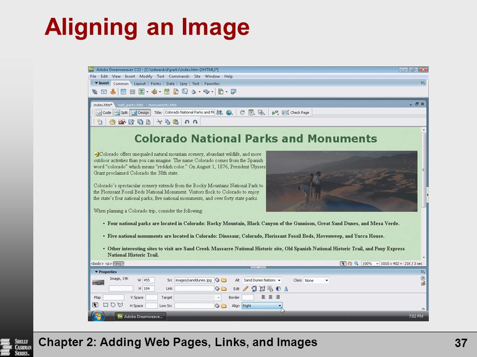 Aligning an Image Chapter 2: Adding Web Pages, Links, and Images