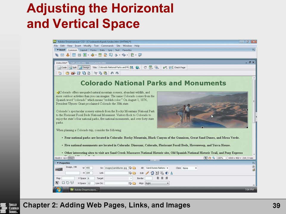 Adjusting the Horizontal and Vertical Space