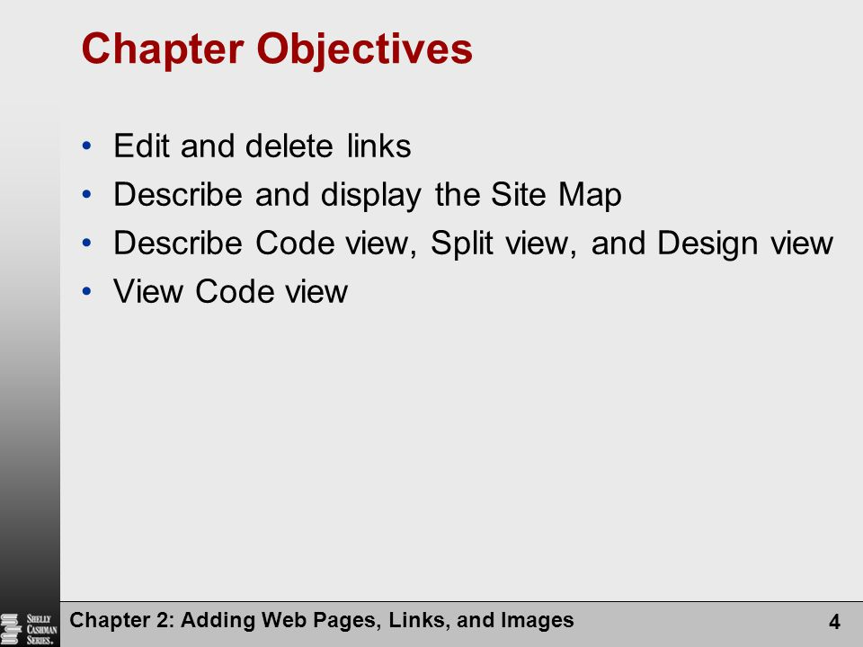 Chapter Objectives Edit and delete links