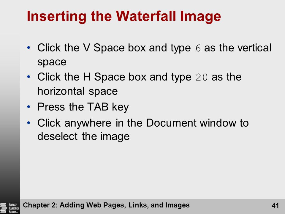 Inserting the Waterfall Image