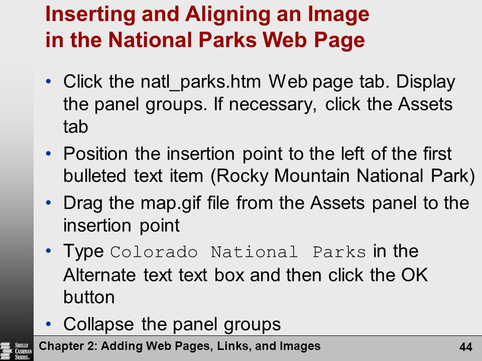 Inserting and Aligning an Image in the National Parks Web Page