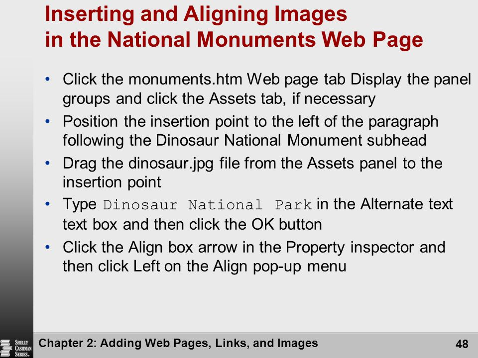 Inserting and Aligning Images in the National Monuments Web Page