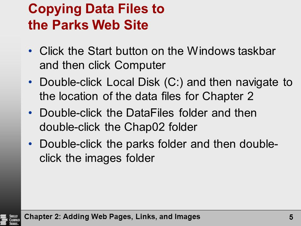 Copying Data Files to the Parks Web Site