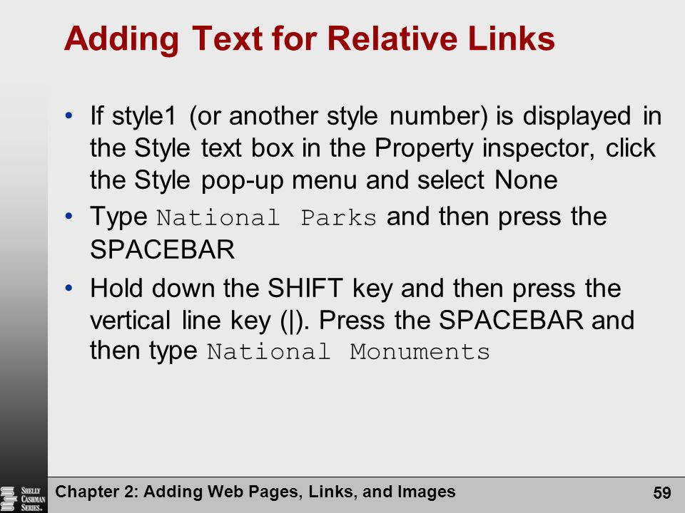 Adding Text for Relative Links