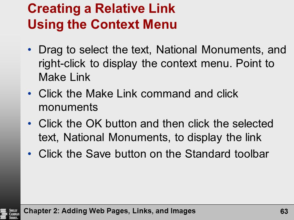 Creating a Relative Link Using the Context Menu