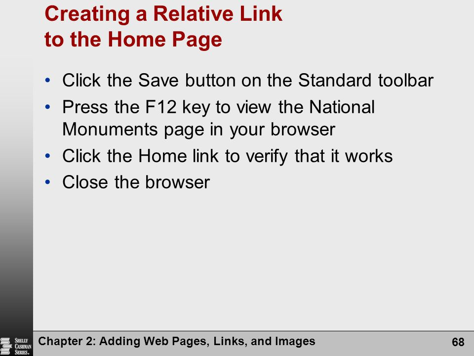 Creating a Relative Link to the Home Page