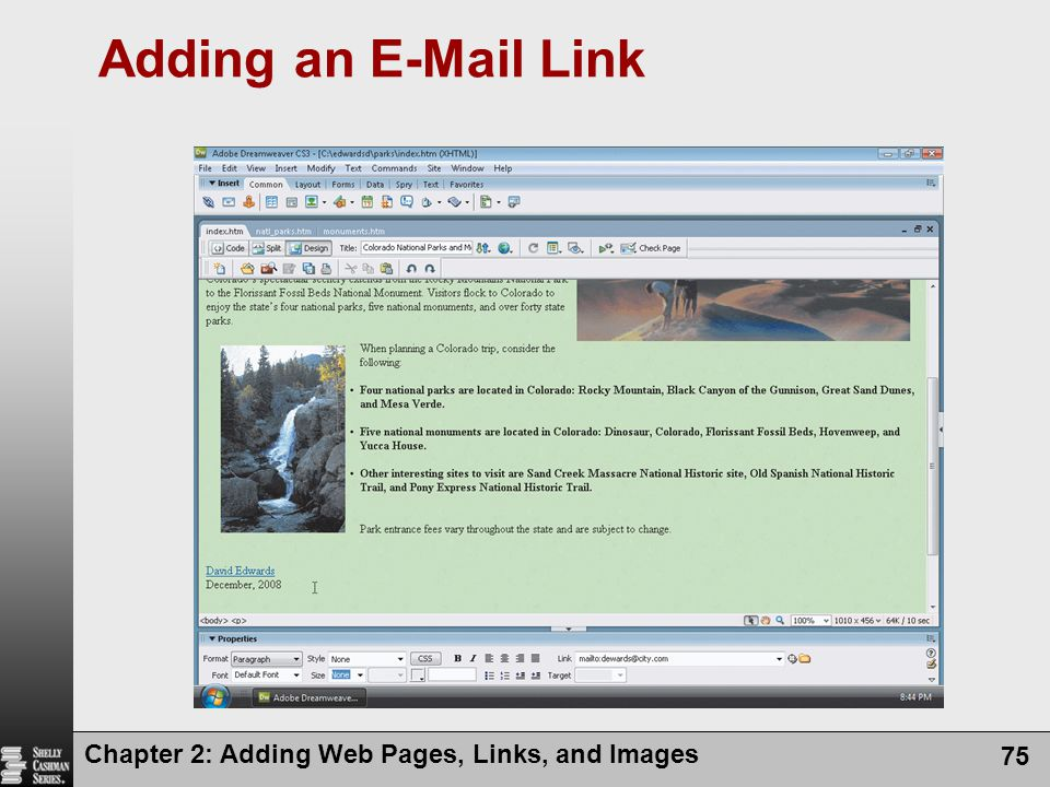 Adding an E-Mail Link Chapter 2: Adding Web Pages, Links, and Images