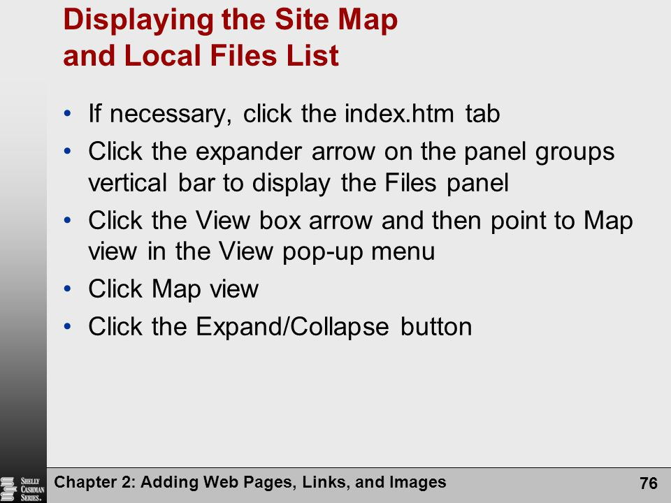 Displaying the Site Map and Local Files List