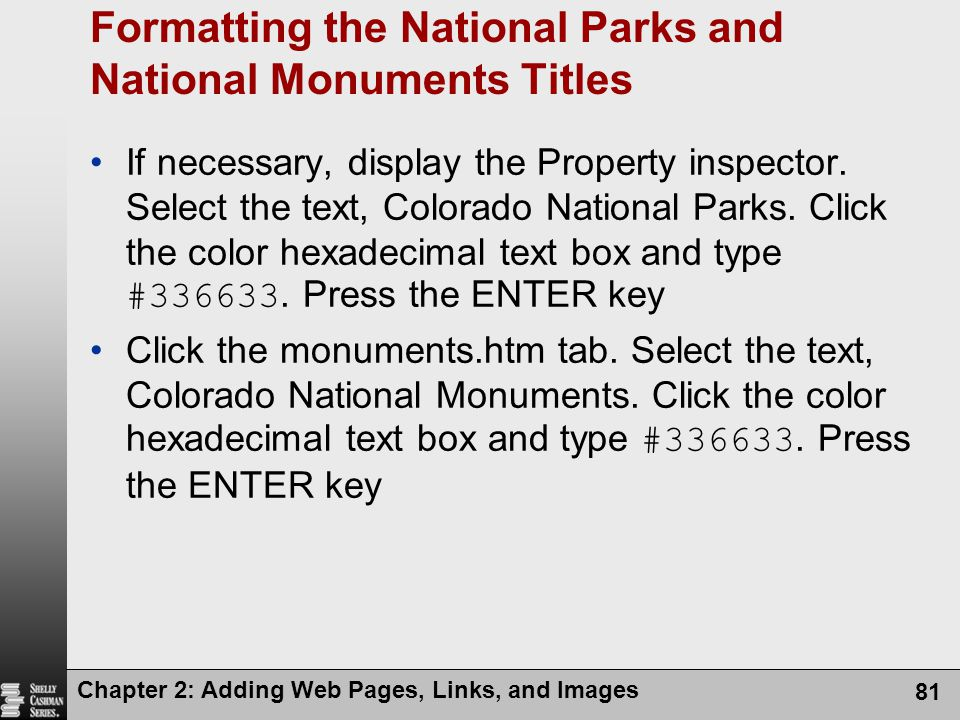 Formatting the National Parks and National Monuments Titles
