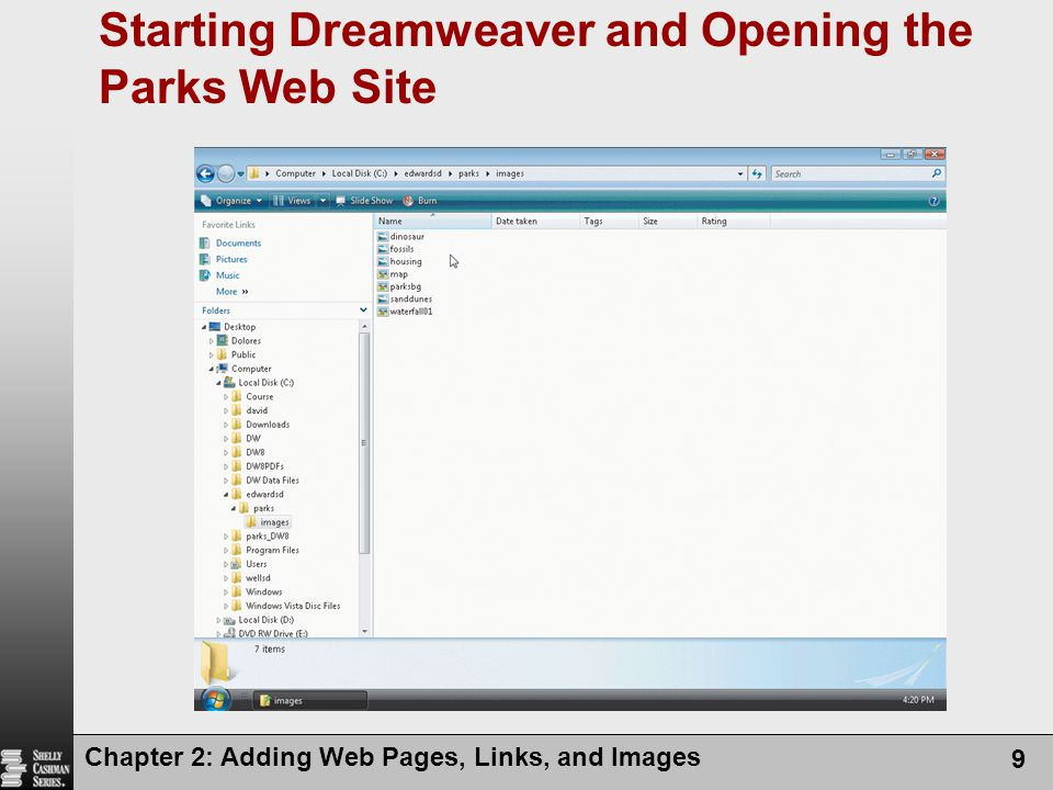 Starting Dreamweaver and Opening the Parks Web Site