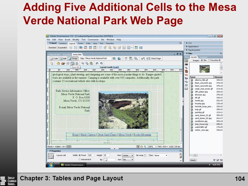 Adding Five Additional Cells to the Mesa Verde National Park Web Page