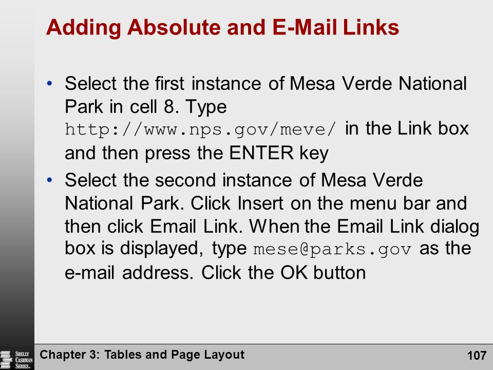 Adding Absolute and E-Mail Links
