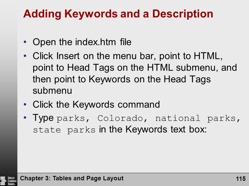 Adding Keywords and a Description