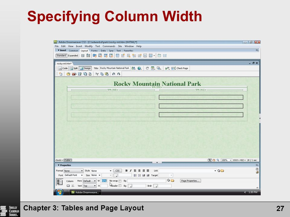 Specifying Column Width