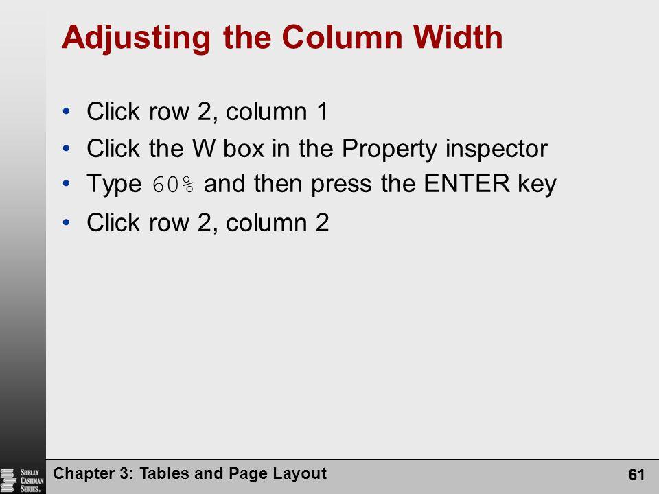 Adjusting the Column Width