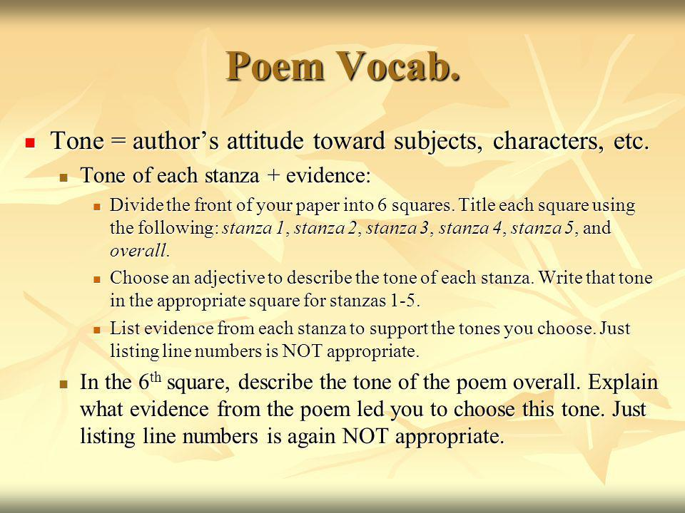 Poem Vocab. Tone = author's attitude toward subjects, characters, etc.