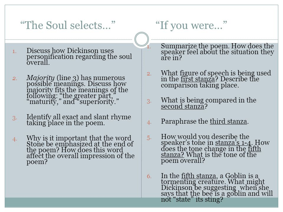 The Soul selects… If you were…