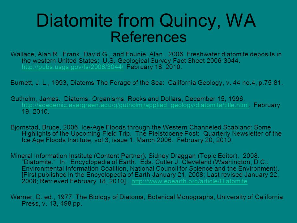 Diatomite from Quincy, WA