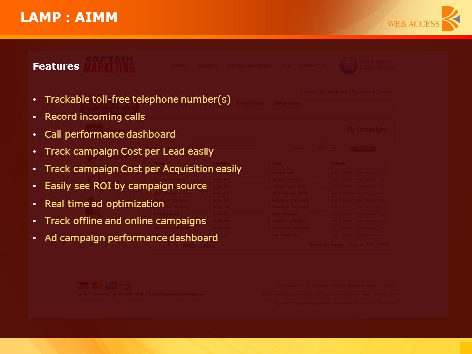 LAMP : AIMM Features Trackable toll-free telephone number(s)