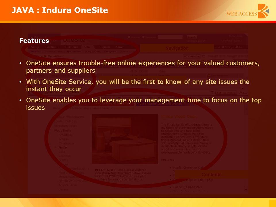 JAVA : Indura OneSite Features