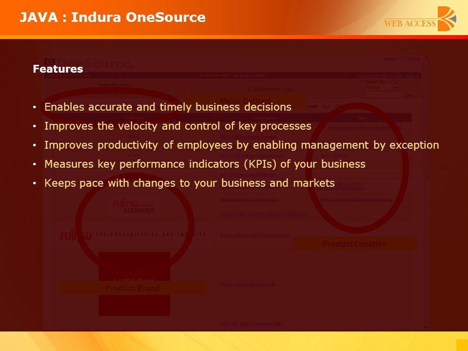JAVA : Indura OneSource
