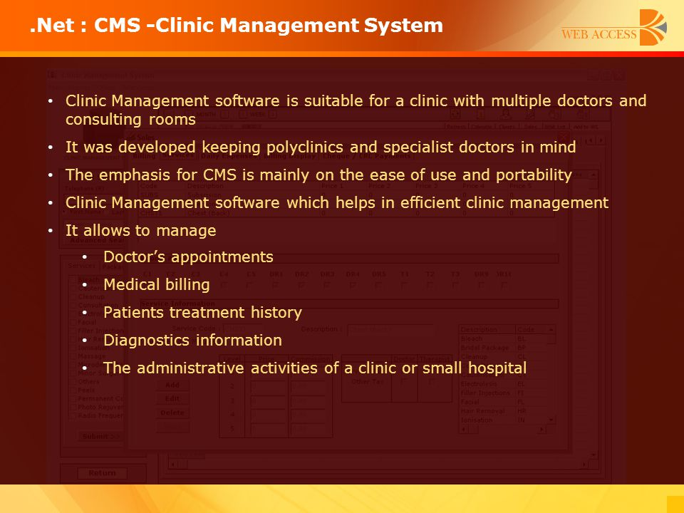 .Net : CMS -Clinic Management System