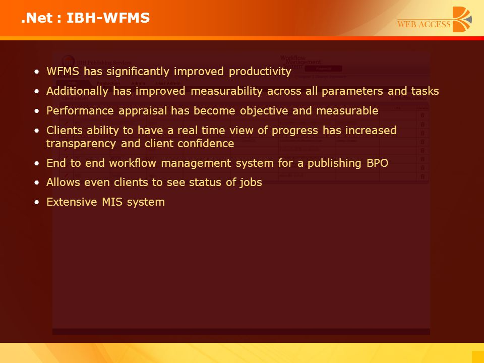 .Net : IBH-WFMS WFMS has significantly improved productivity