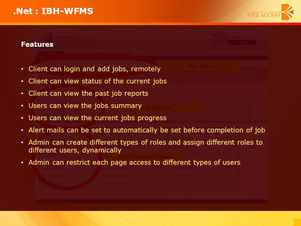 .Net : IBH-WFMS Features Client can login and add jobs, remotely