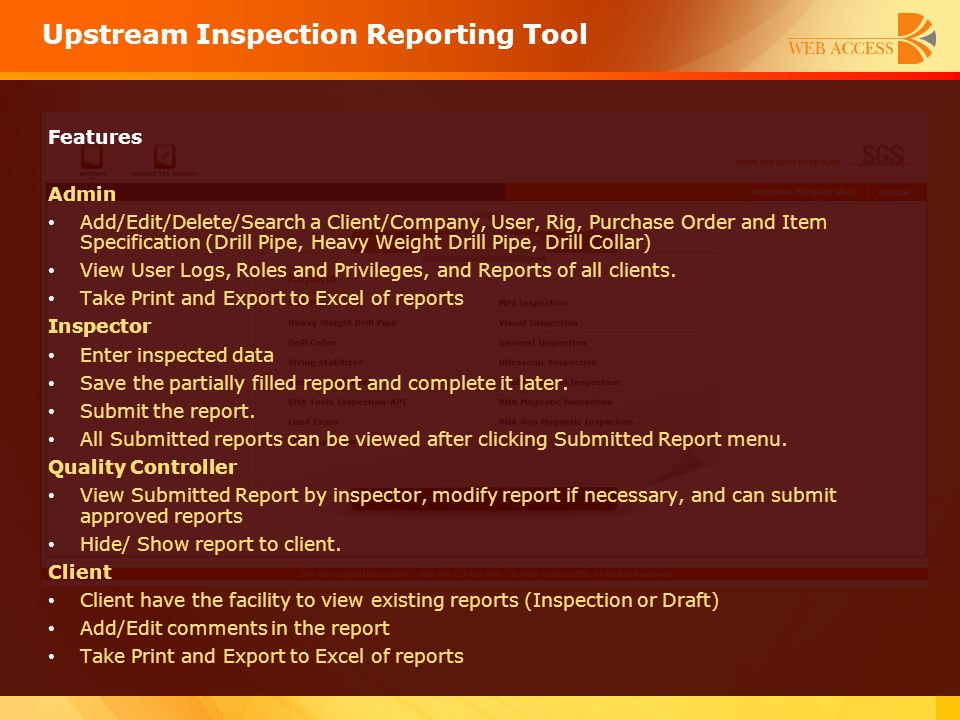 Upstream Inspection Reporting Tool