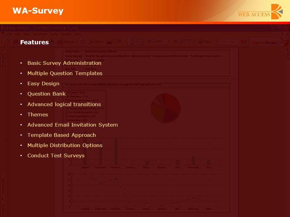 WA-Survey Features Basic Survey Administration