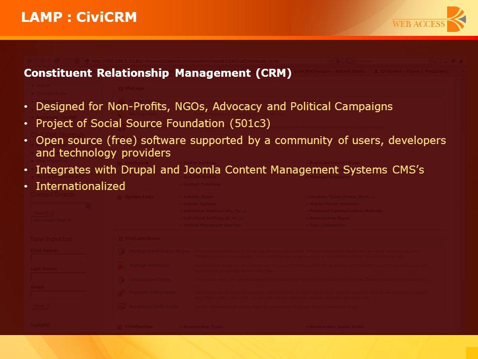 LAMP : CiviCRM Constituent Relationship Management (CRM)