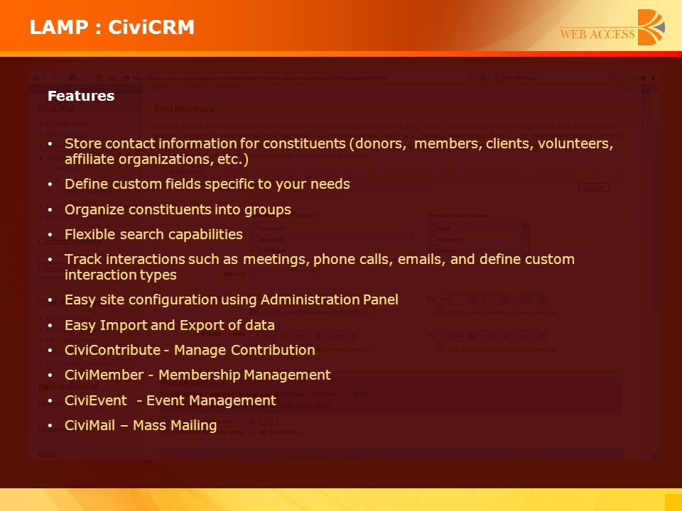 LAMP : CiviCRM Features