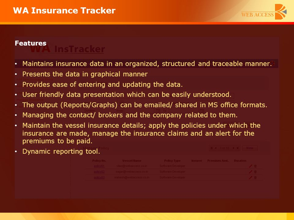 WA Insurance Tracker Features