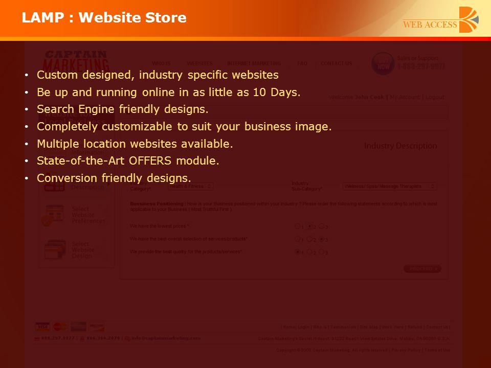 LAMP : Website Store Custom designed, industry specific websites
