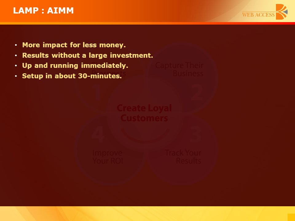 LAMP : AIMM More impact for less money.