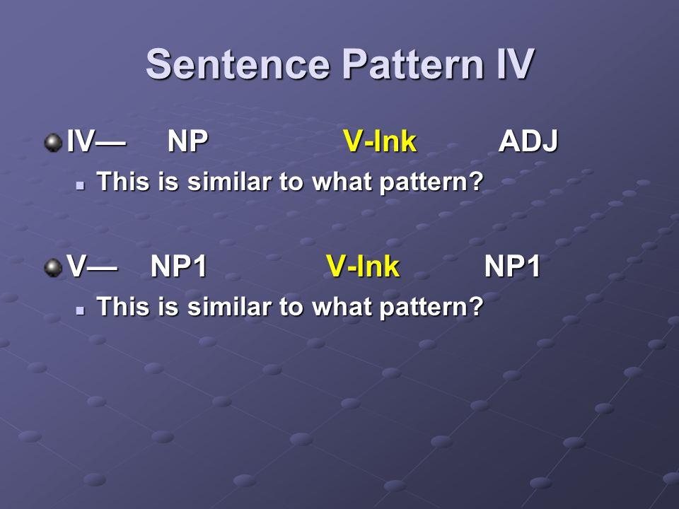 Sentence Pattern IV IV— NP V-lnk ADJ V— NP1 V-lnk NP1