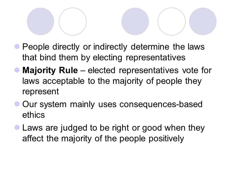 People directly or indirectly determine the laws that bind them by electing representatives