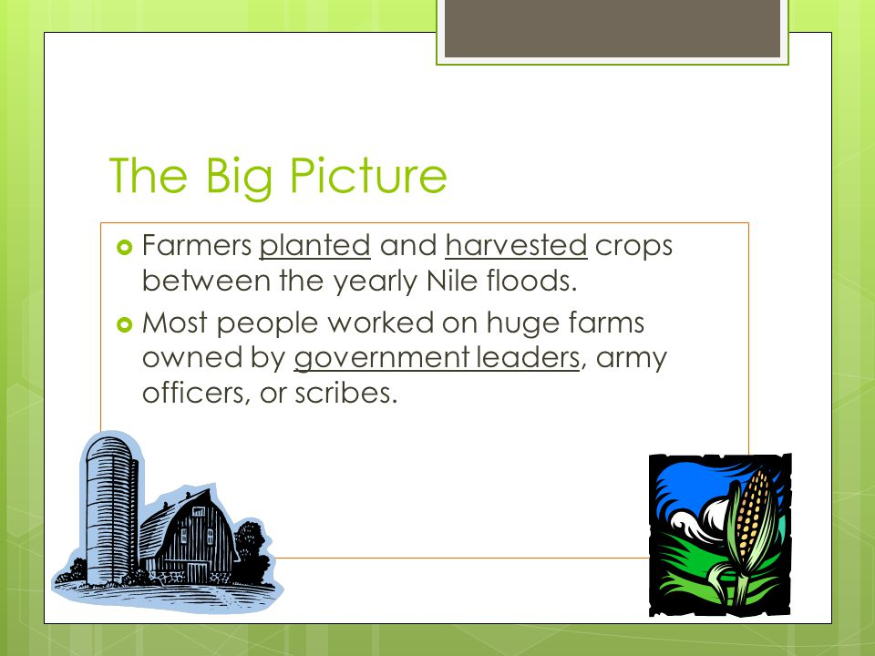 The Big Picture Farmers planted and harvested crops between the yearly Nile floods.