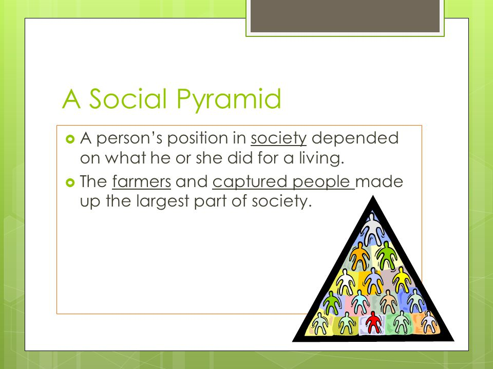 A Social Pyramid A person's position in society depended on what he or she did for a living.