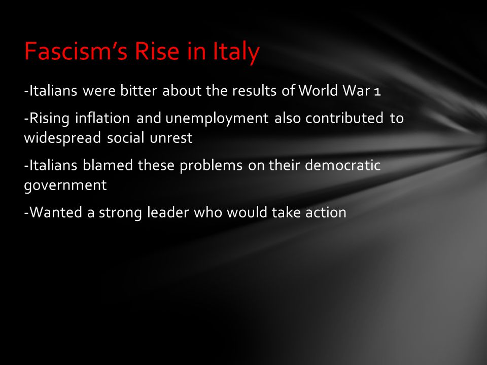 Fascism's Rise in Italy