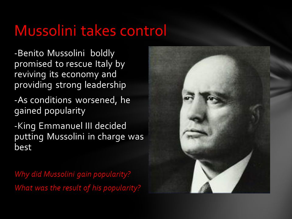 Mussolini takes control
