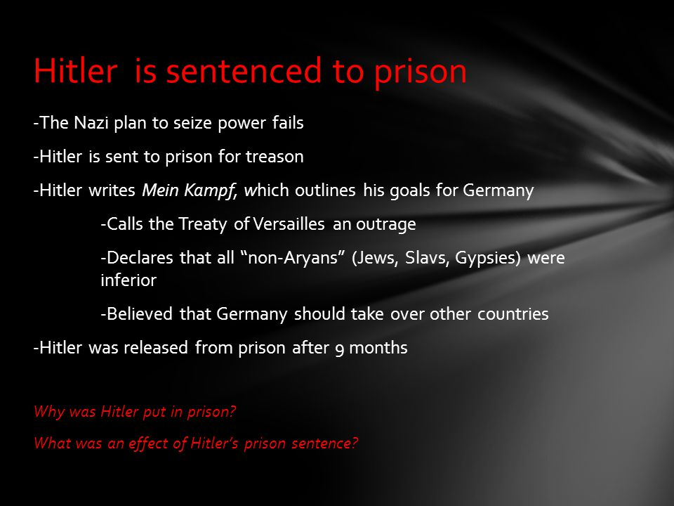 Hitler is sentenced to prison