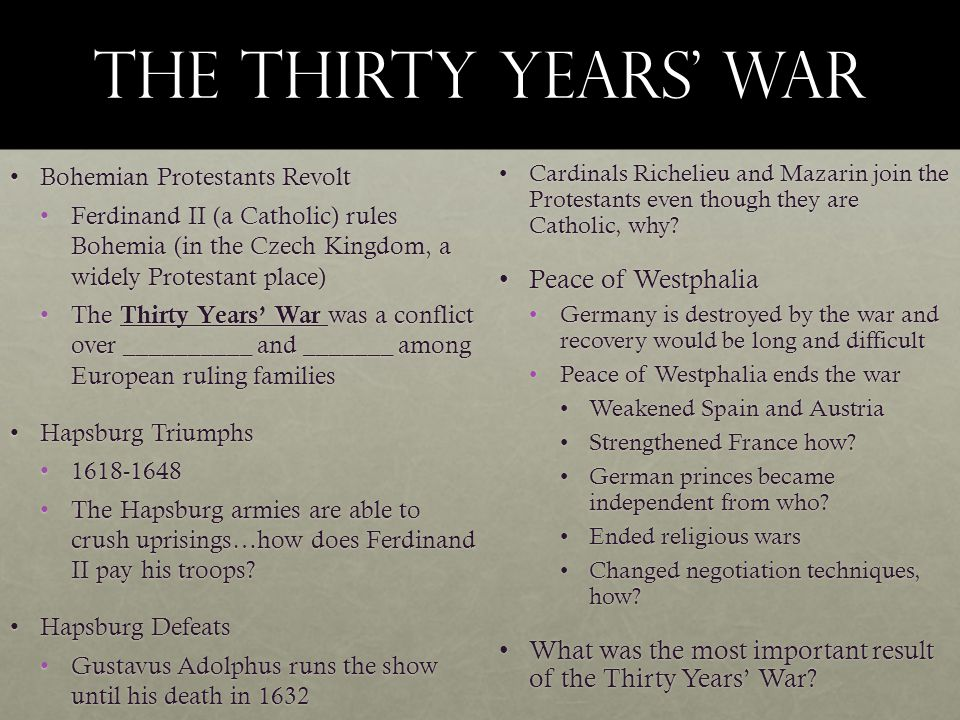 The Thirty Years' War Peace of Westphalia