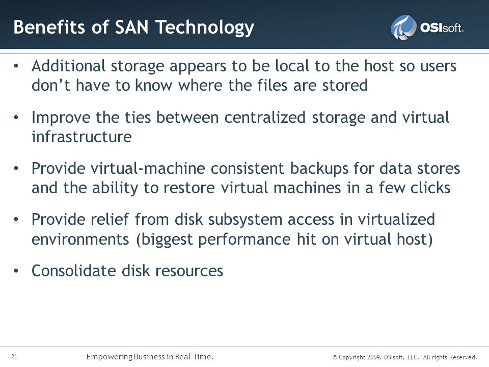Benefits of SAN Technology