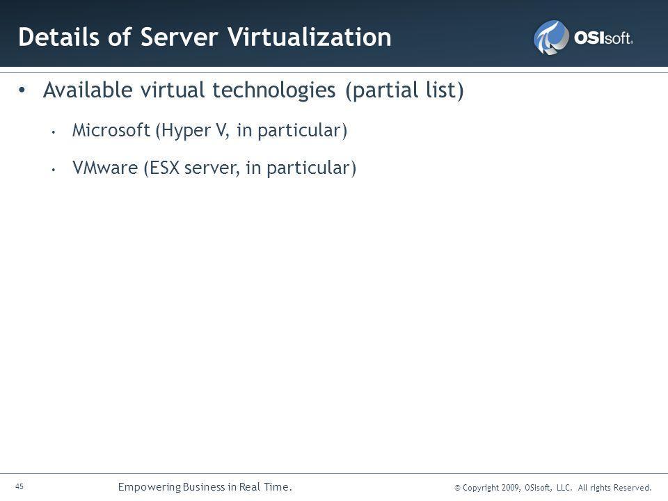 Details of Server Virtualization