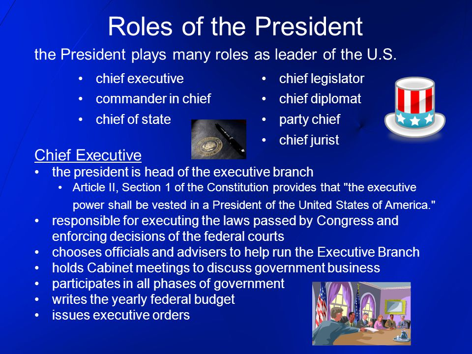 Roles of the President the President plays many roles as leader of the U.S. Chief Executive. the president is head of the executive branch.