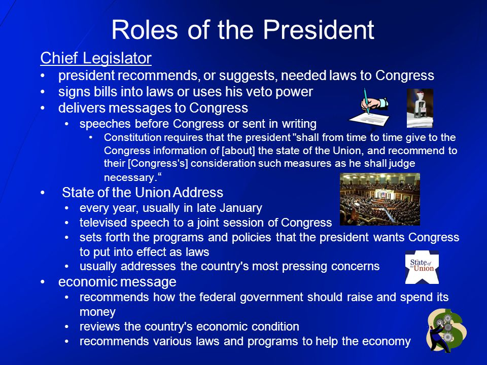 Roles of the President Chief Legislator