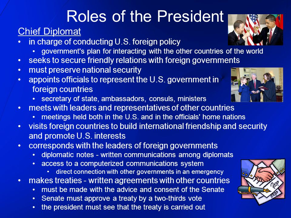 Roles of the President Chief Diplomat