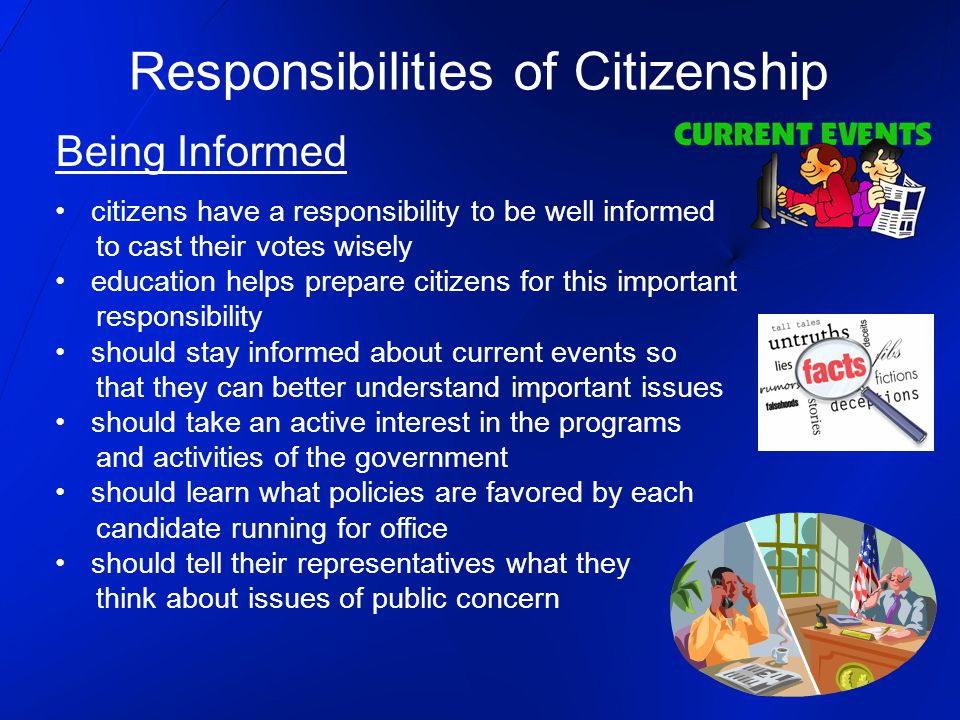 citizenship and responsibilities citizens Citizens' rights and responsibilities rights and responsibilities of citizens under the constitution every citizen has an obligation to respect.