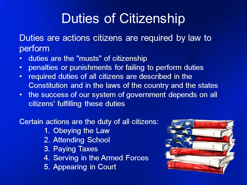 Duties of Citizenship Duties are actions citizens are required by law to. perform. duties are the musts of citizenship.